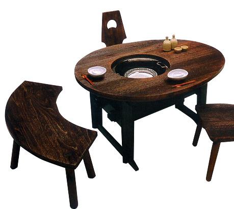 焼桐玉子型楔(くさび)留め囲炉裏テーブル